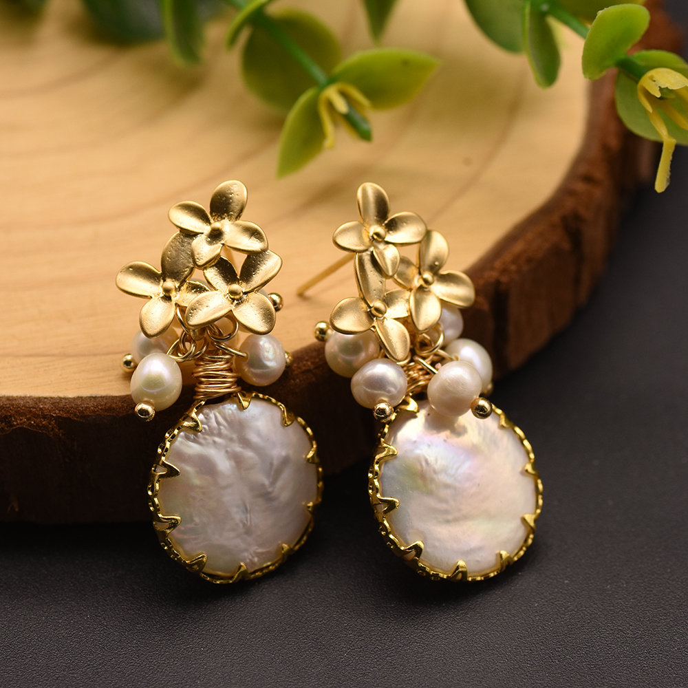 H739515ba046640138e9745655ebab113H - GLSEEVO Natural Fresh Water Baroque Pearl Earrings For Women Plant Leaves Dangle Earrings Luxury Handmade Fine Jewelry GE0308