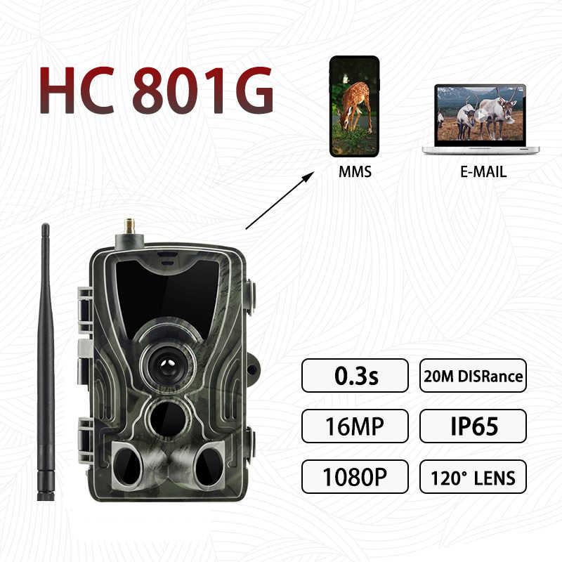 HC-801G 3G kamera myśliwska 16MP 1080P kamera obserwacyjna wiadomości SMS/MMS/SMTP/IP66 pułapki 0.3s czas wyzwalania diody led dzikich zwierząt Night Vision kamery