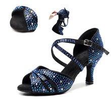Женская обувь для латинских танцев стразы черный цвет высокий