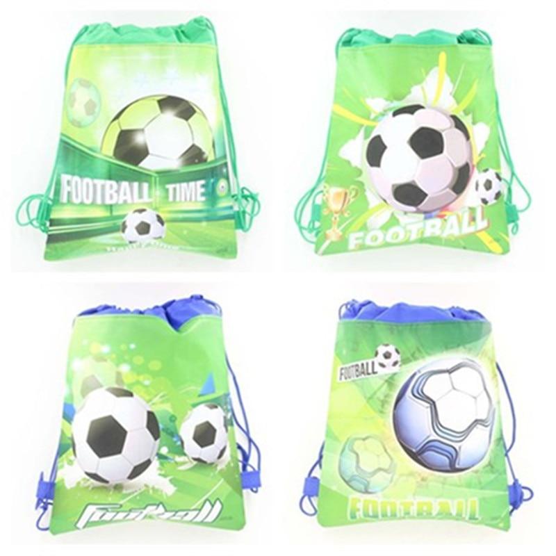 12pcs Soccer Pattern Drawstring Bag Football Design Storage Backpack Children School Bag Toys Received,Beach Bag