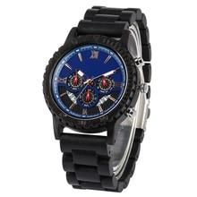 купить Luxurious Ebony Band Wooden Watch for Men Clock with Calendar Handmade Wood Wristwatch Luxury Stylish Gifts reloj para hombre по цене 1333.89 рублей