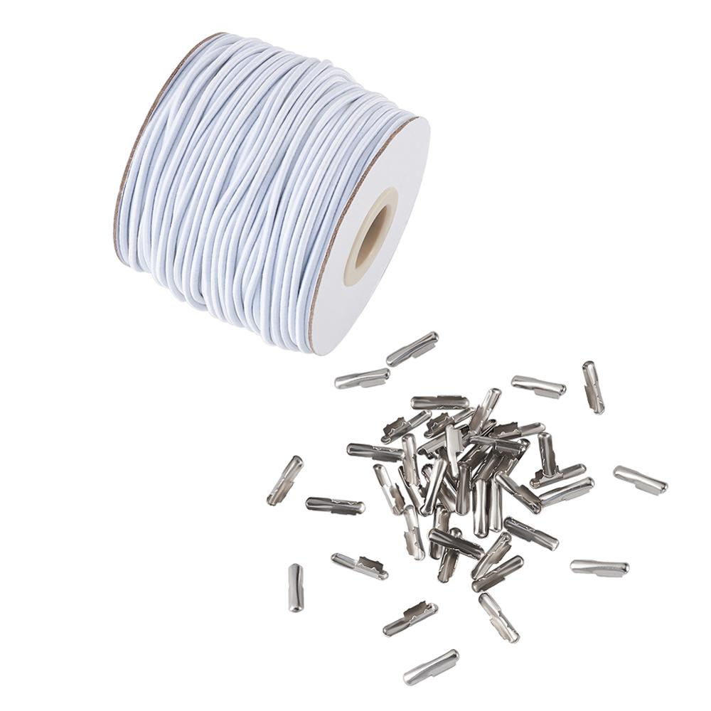1set Diy Kit With Round Elastic Cord And Iron Half Cover Crimp End