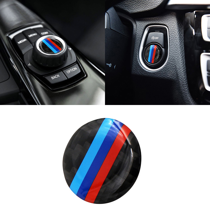 1pcs Multimedia Audio Control Button Labeled <font><b>Emblem</b></font> Badge Decal circle ignition coils Stick Car <font><b>Sticker</b></font> For <font><b>BMW</b></font> M M3 M5 E46 E39 image