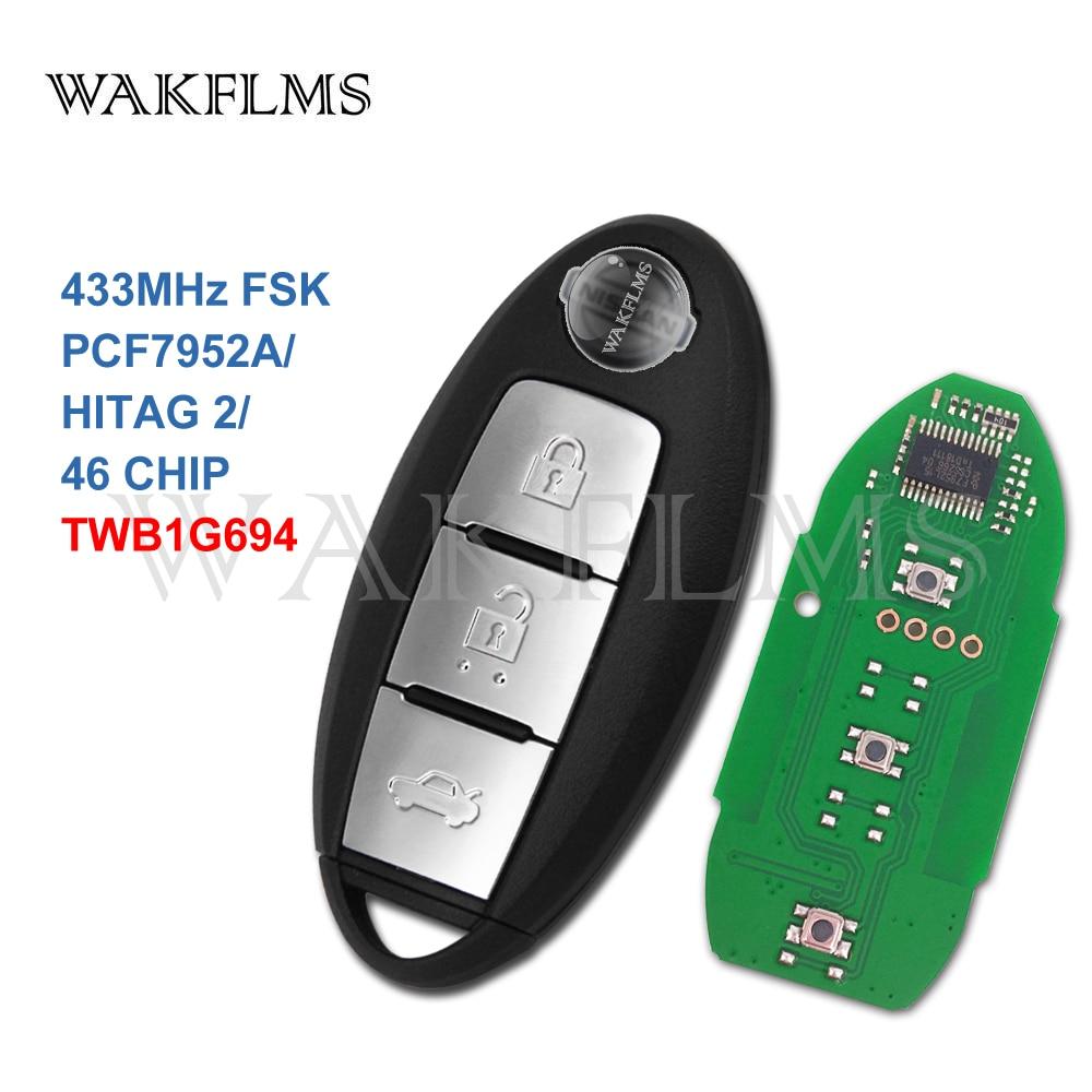 2 Pack Remote Key Fob fits Nissan Versa Sentra 2013 2014 2015 4-Button CWTWB1U815