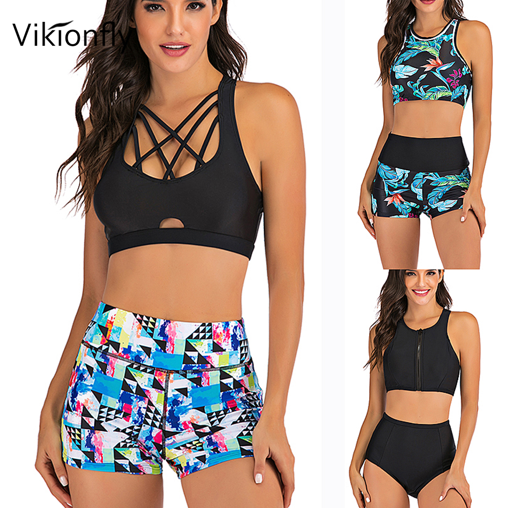Vikionfly Sport Swim Bikini Set With Shorts High Waist Swimsuit Women 2020 Printed Padded Push Up Swimwear Bathing Suit Swimming