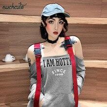 SUCHCUTE Strap Button Female T-Shirt For Women Off Shoulder Letter Print Longslive Streetwear Tops Korean Style Casual Tee Shirt