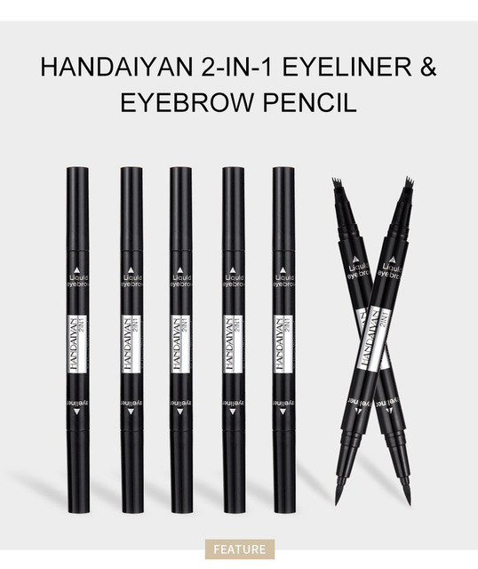 1 PC 2 in1 Double-end Liquid Eye Liner With Eyebrow Pencil Waterproof Natural Long-lasting Automatic Cosmetic Makeup Tool TSLM2 2