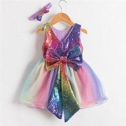 Радуга Цвет платье принцессы вечерние платья для девочек с большим бантом для дня рождения; Возраст 1 год костюм Роскошный Сияющий блесткам...