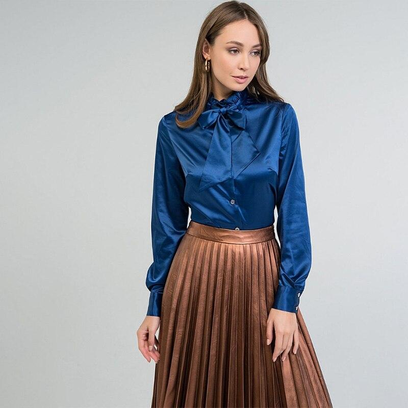 Women Office Lady Bow Bandage Blouse Long Sleeve O Neck Solid Elegant Casual Shirt 2020 Early Spring New Fashion Women Blouse