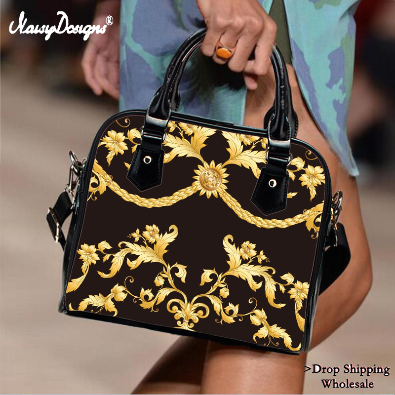 Luxury Women Handbags Europen Golden Floral Leather Totes Bags PU Leather Female Shoulder Bag Girls Top-Handle Bag Dropshipping