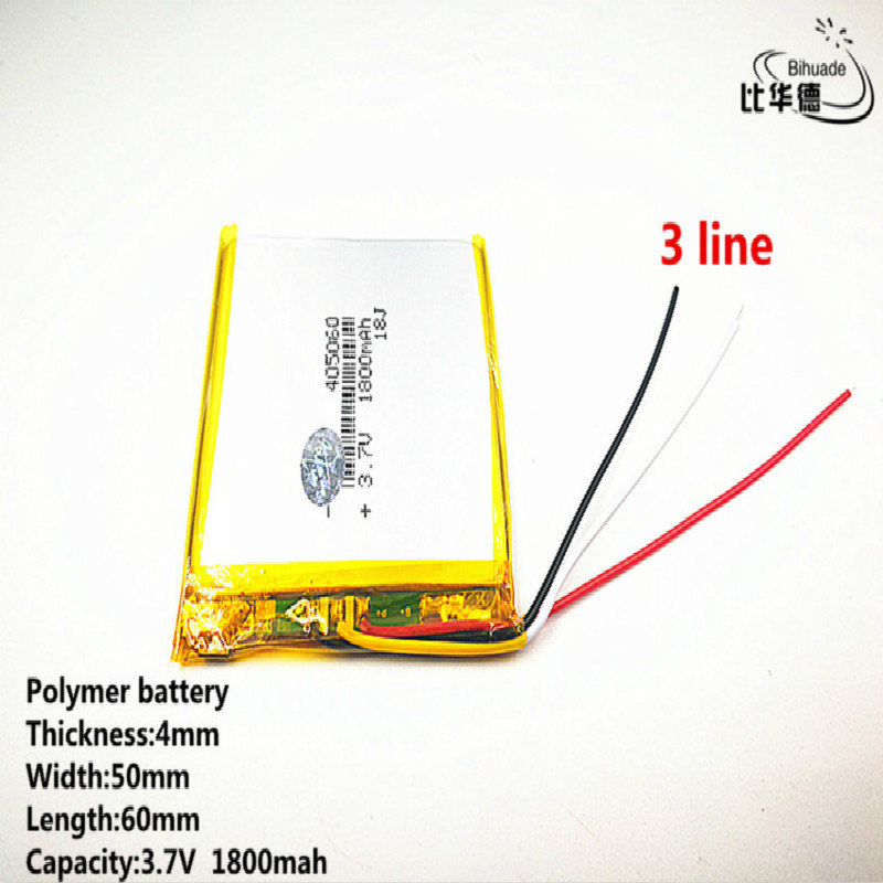 10pcs/lot 3 line Good Qulity <font><b>3.7V</b></font>,<font><b>1800mAH</b></font>,405060 Polymer lithium ion / Li-ion <font><b>battery</b></font> for TOY,POWER BANK,GPS,mp3,mp4 image