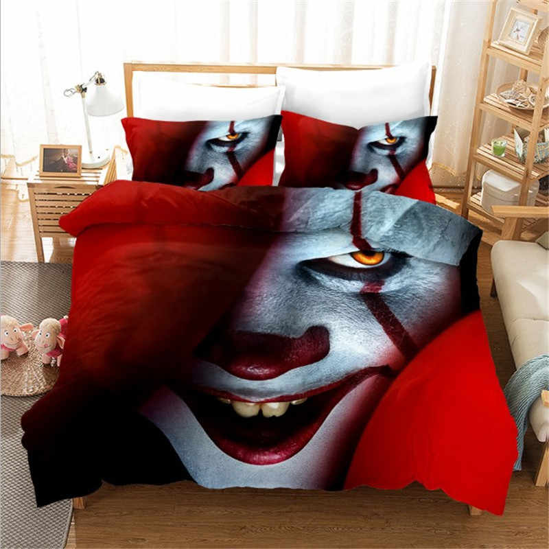 Movie It: Chapter Two Pennywise Cosplay Bedding Set Duvet Covers Pillowcases Comforter Full Twin Single Size Bedclothes Bed Sets
