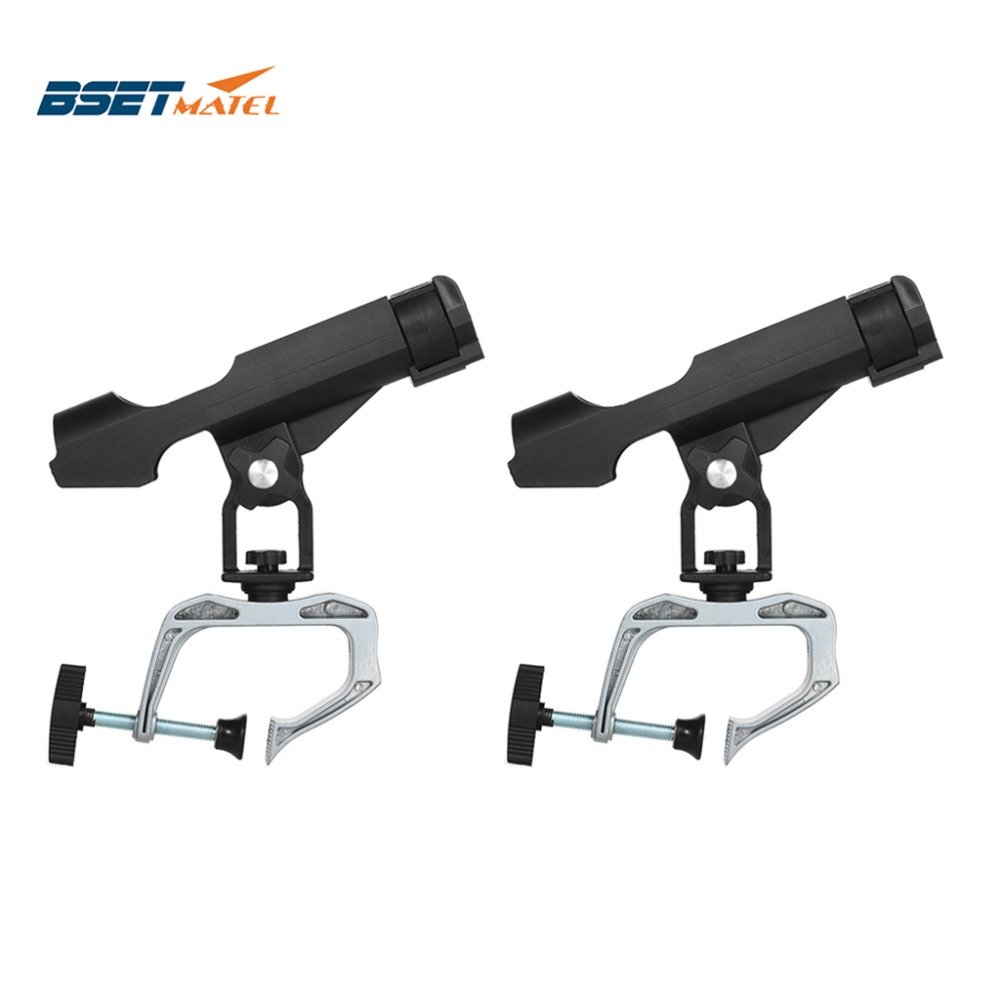 BSET MATEL 2X Fishing Rod Holders Clamp On Adjustable Removable 360 Degree Kayak Boat Support Pole Stand Bracket