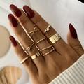 Женское Винтажное кольцо IPARAM, набор колец золотого цвета с широкими костяшками, в стиле панк, с перекрученными кристаллами, богемное Ювелир...