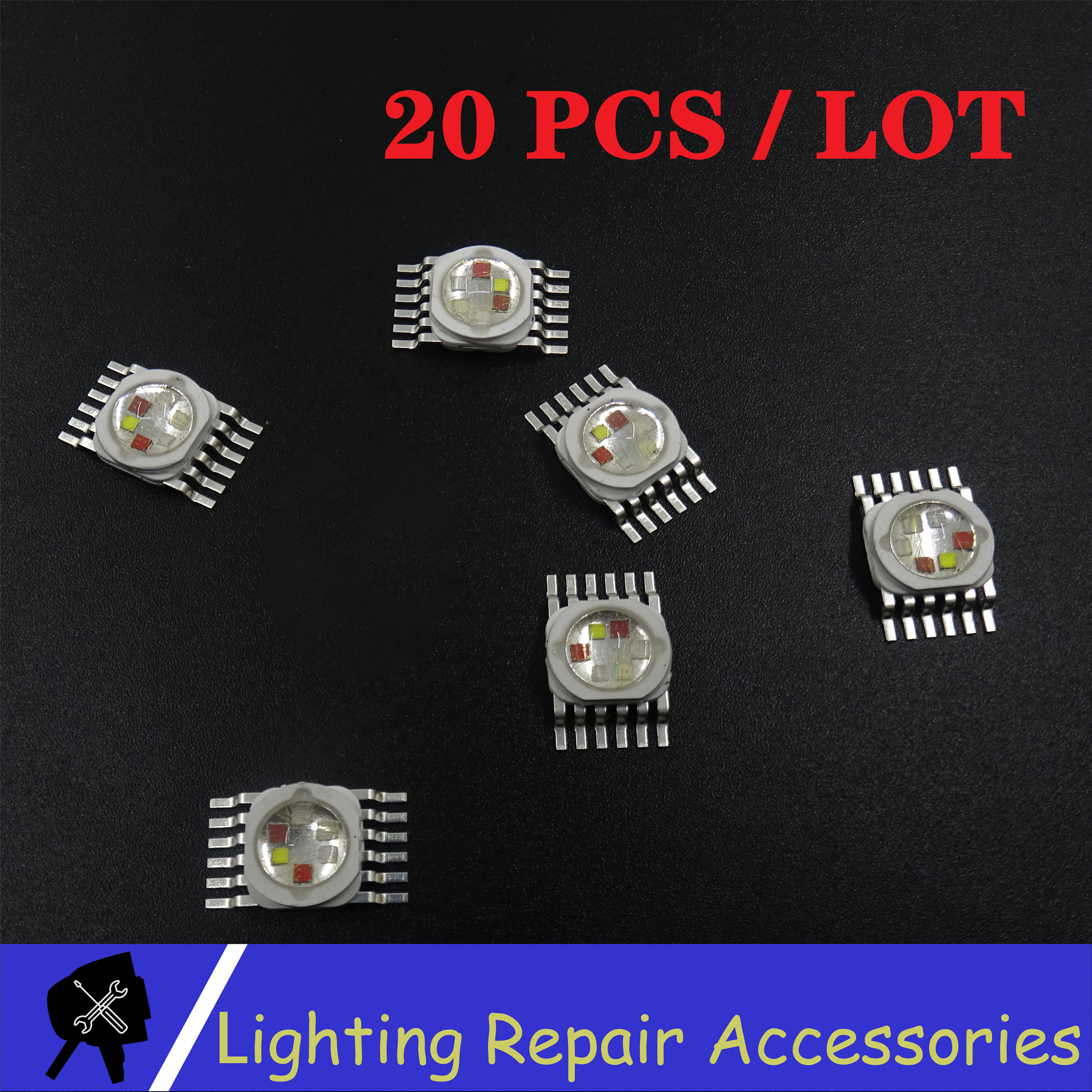20 Pcs/pack JINGXING 6W 12w 18w RGBWA UV 6 In 1 LED Bead Lamp Source Led Chip LED Lamp Bead Led Light For Led Stage Lighting