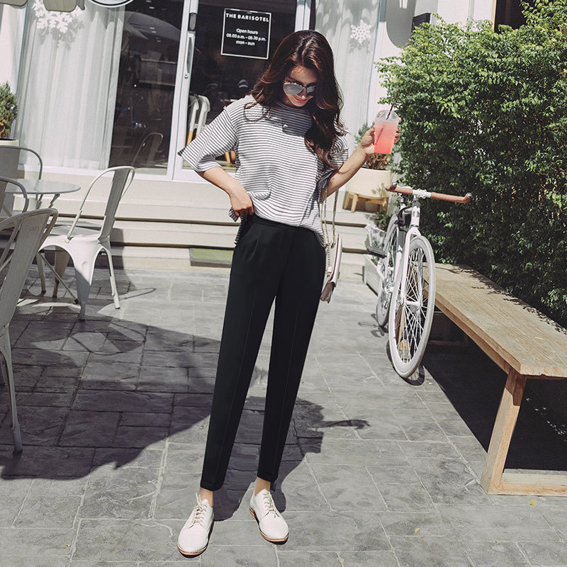 Harem   Pants   2019 New Style Loose Casual Black Cropped Trousers Skinny Thin   Capri   Suit Spring Summer WOMEN'S   Pants   Straight-Cut