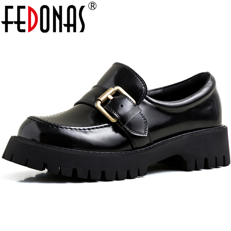 FEDONAS New Women Working Party Pumps Spring Summer Round Toe Metal Decoration Shoes Patent Leather Brand Shoes Woman