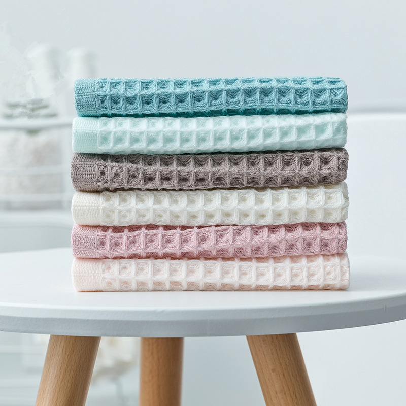 Cotton Waffle Check Solid Color Baby Towel Absorbent  Kids Face Towel Child Bath Towel Breathable Kids Washcloth Beach Towel