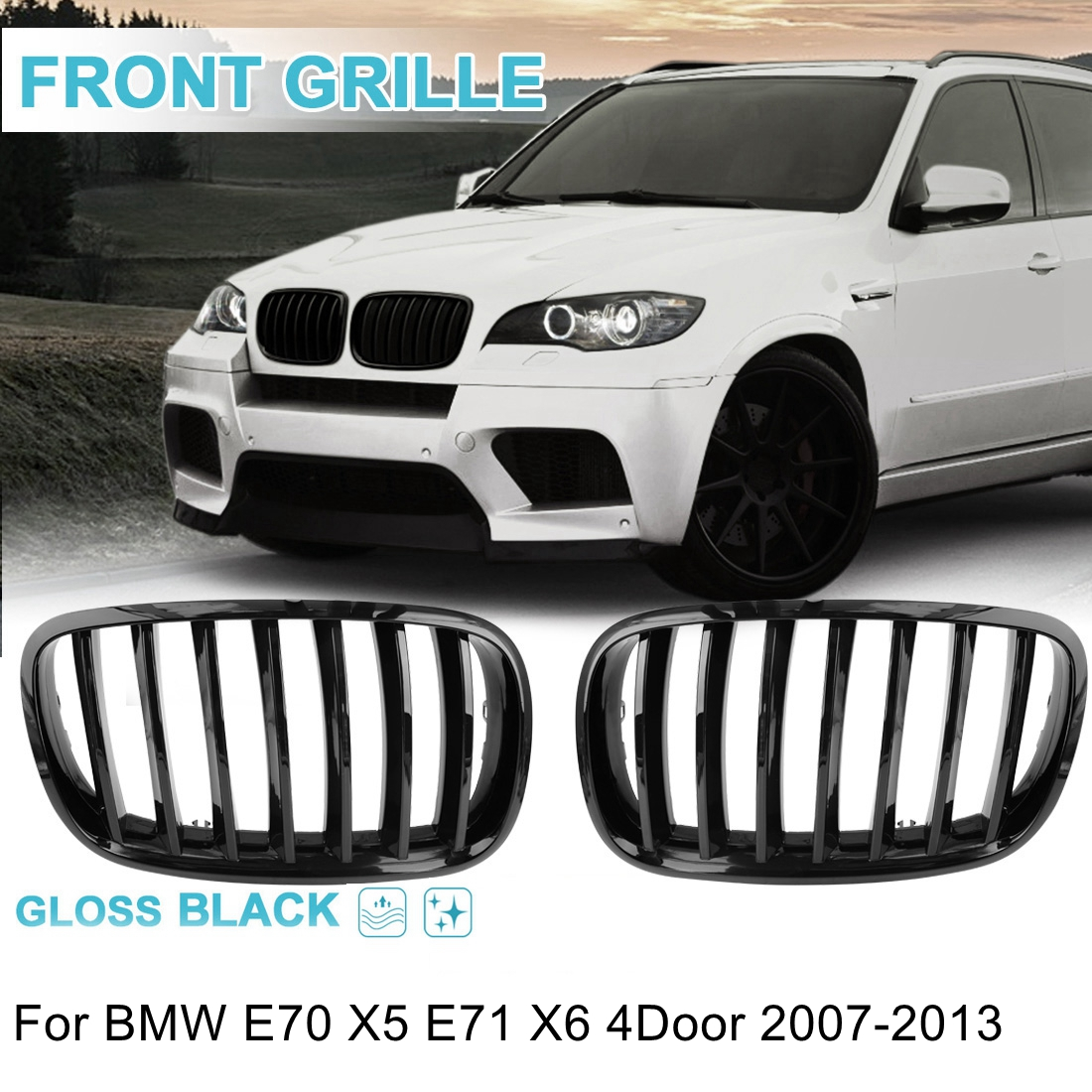 UXCELL 2PCS Frente Gloss Black Dupla Slat Bumper Rim Grille Grill Para BMW E70 X5 E71 X6 E46 E90 série 5 F30 F10 1997-2016