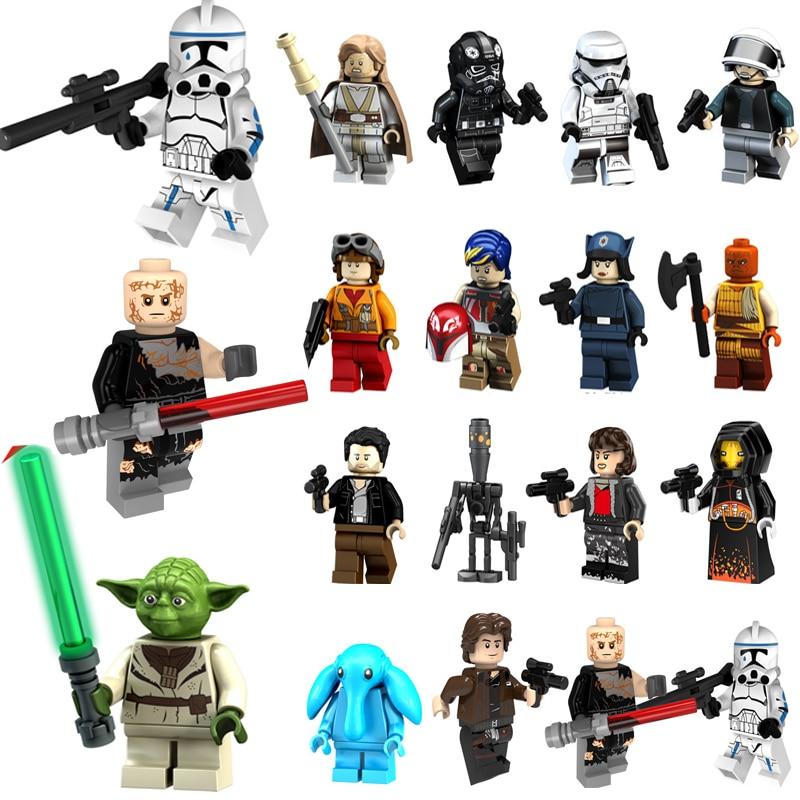 HOT Star Wars Blocks Legoing Starwars Figures Darth Vader Anakin Luke Skywalker Master Yoda Building Blocks Bricks Toys