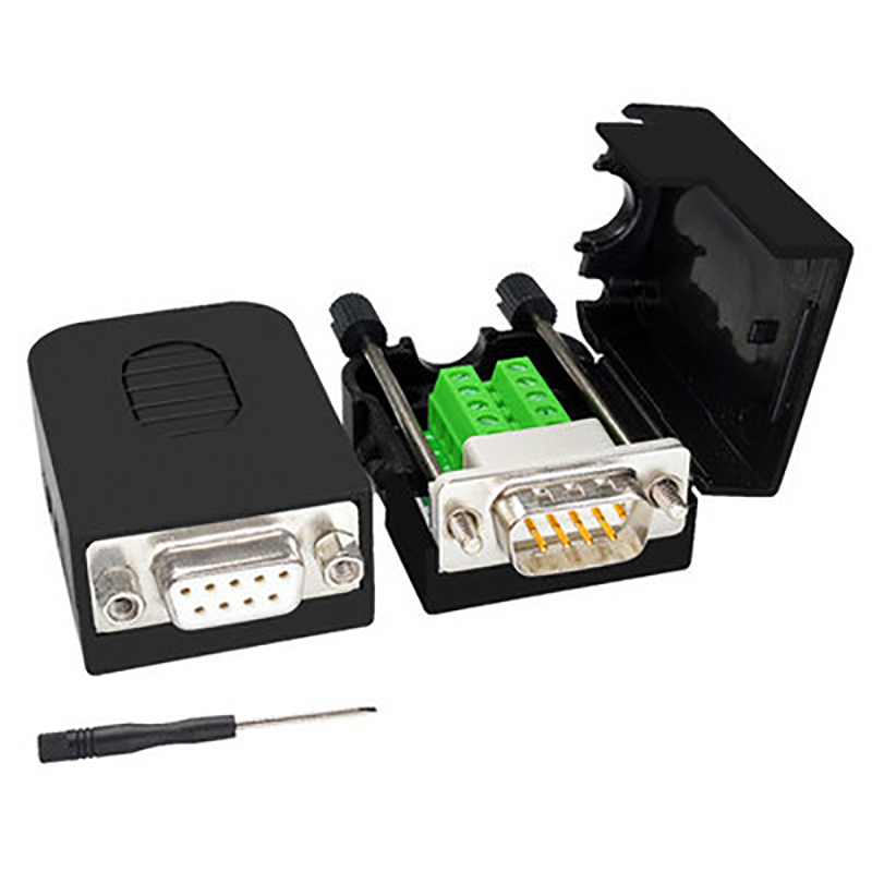 DB9 Connector Male Female D-SUB 9 Pin Plug RS232 RS485 Breakout Terminals 21-24 AWG Wire Solderless Connectors