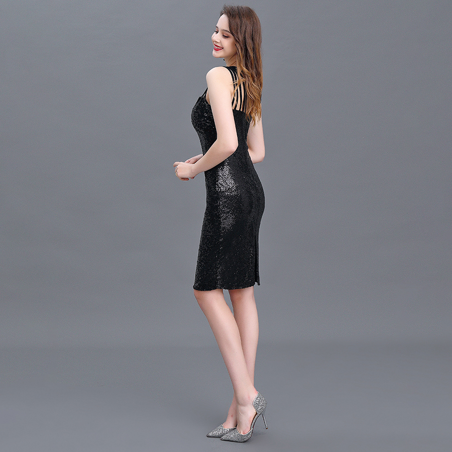 Image 3 - Cocktail Dress 2020 New Mermaid Black Straps Sequin Knee length Sexy Women Homecoming Dress For Party with Zipper BackHomecoming Dresses   -