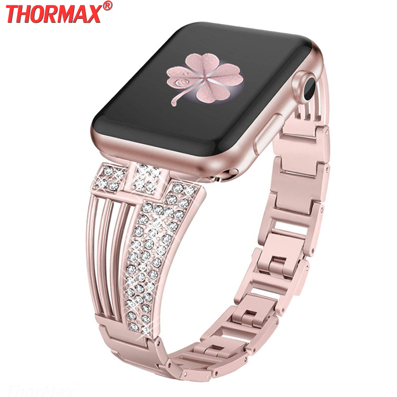 Bling Bands For Apple Watch Band 38mm/40mm,Suitable For IWatch Series 5 2/3/4, Diamond Rhinestone Metal Jewelry Wristband Strap