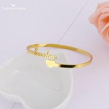 Регулируемый ожерелья на заказ браслет браслет +персонализированный открытый начальный буквы сердце табличка браслеты для женщин ювелирные изделия подарок