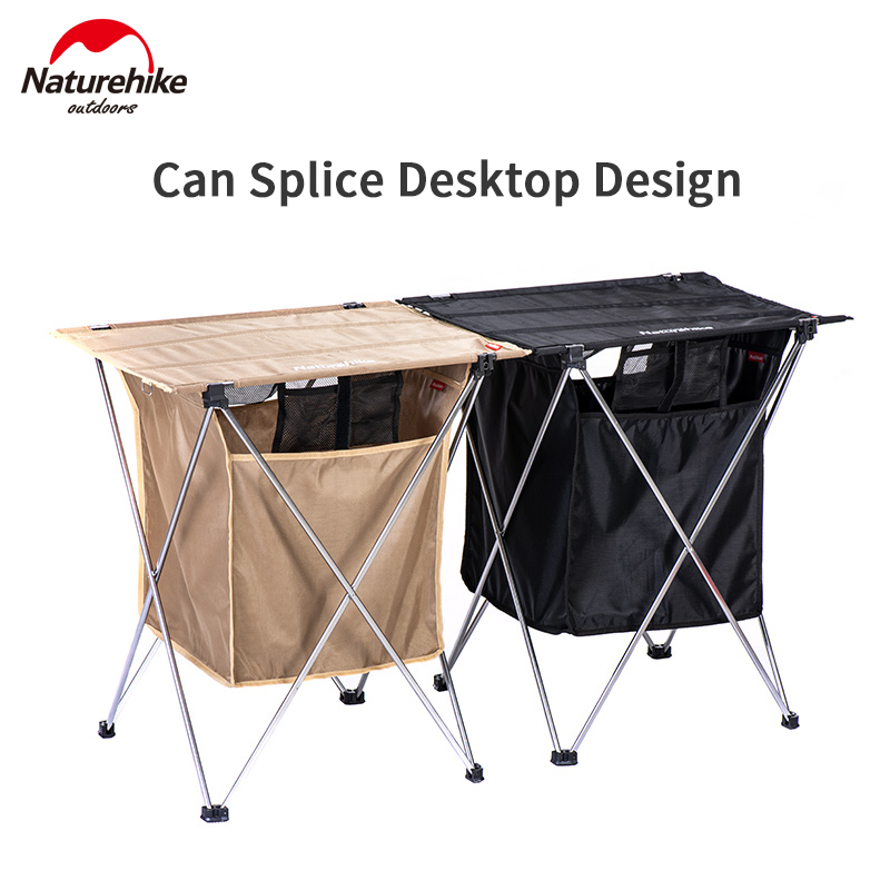Naturehike Camping Foldable Table With Storage Box 1.2kg Stitchable Desktop 2-in-1 Table 40L Box Portable Aluminum Alloy Support