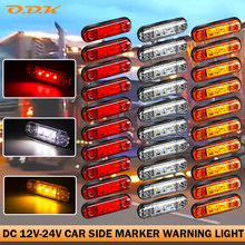 6/10PCS 3 LED Warning External Side Marker Light Clearance Signal Brake Indicator Trailer Truck Lorry Caravan Bus Van 12V 24V