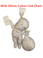 Men's Hip Hop Iced Out CZ Money Bag Kids Pendant Chain 18K Gold Silver Plated Necklace Charm Jewelry with Cuban Link Chain
