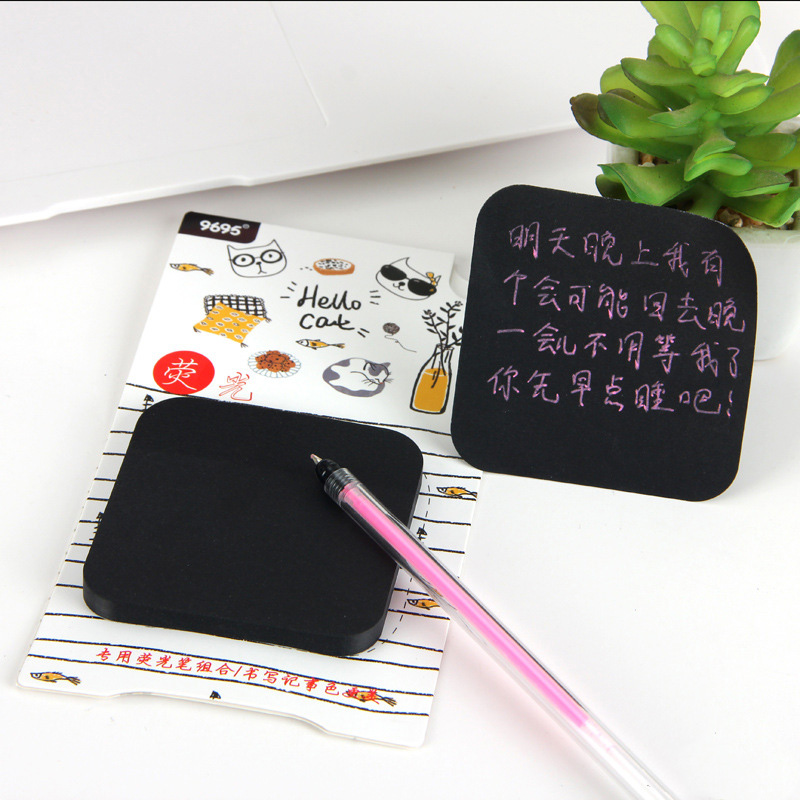 50Sheets Kawaii Adhesive Sticky Notes Novelty Black Memo Pads With Highlighter For Kids Girls School Office Supplies Stationery
