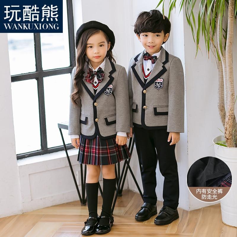 Childrenswear Primary School STUDENT'S British-Style School Uniform Kindergarten Suit Spring And Autumn Men And Women Tong Xi Zh