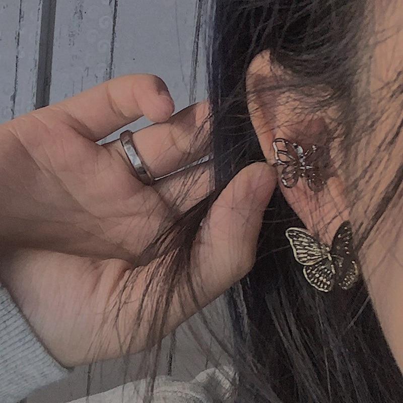 Серьги-клипсы в минималистическом стиле для женщин, изысканные блестящие серьги-бабочки без прокола в эстетике Kpop, ювелирные изделия