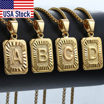 Initial Letter Pendant A-Z 26 Charm Yellow Gold Color Letter Necklace For Women Men Letter Name Jewelry Gift Dropshipping GPM05D 1