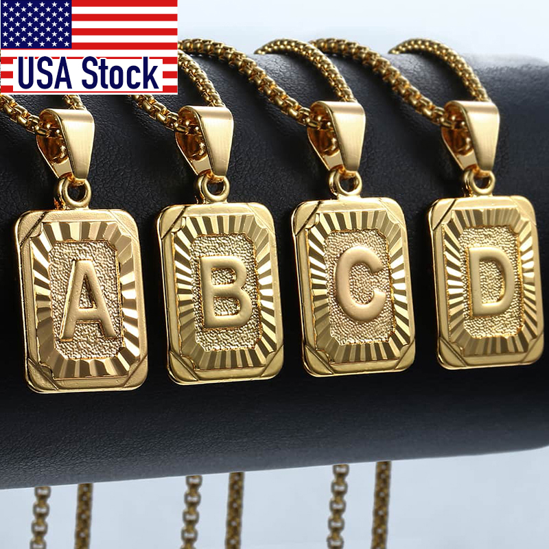 Initial Letter Pendant Name Necklack Yellow Gold Letter J K Necklace For Women Men Best Friend Jewelry Gifts Dropshipping GPM05D(Hong Kong,China)