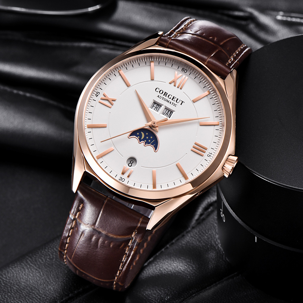 Moon Phase Watch Mens Corgeut 41mm Watch Fashtion White Dial Automatic Mechanical Wristwatches 316L Steel Rose Gold Case Watch 3