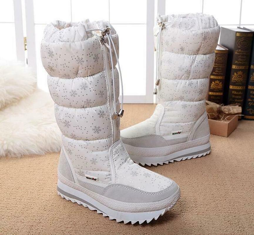 Femmes hiver mi-mollet bottes Top Pull sur imperméable en peluche neige chaussures flocon de neige imprimé épaissir chaud Zip à lacets 6Styles Plus Sz - 5
