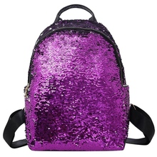 New Women Sequins Backpack Teenage Girls Fashion Schoolbag Casual Travel Bling Rucksack Holographic