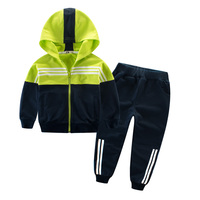 Boys Sports Set Hooded Outwears Patchwork Stripe Pants Trousers Spring Autumn Active Clothing Suit 4 5 6 7 8 9 Years Old