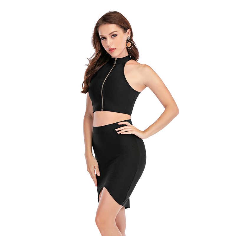 Sexy vrouwen Kleding Club Party 2 Stuk Sets Mode Bandage Jurk Strapless Mouwloze Korte Crop Top Gebreide Bodycon Rokken