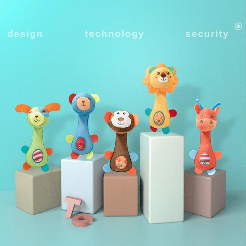 Imcute 2020 Infant Kids Baby Soft Toys Rattle Cute Animal Giraffe Lion Monkey Bear Puppy Handbells Developmental Toy Bed Bells