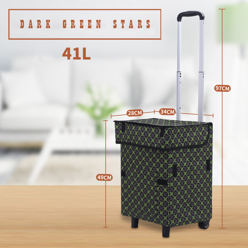 E-FOUR Shopping Tote Cart Shopping Trolley Folding Grocery Laundry Pull Cart with Wheels Oxford Cloth Bag Aluminum Frame