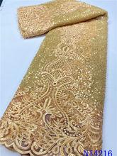 В африканском стиле золотого цвета из бисера кружевной ткани
