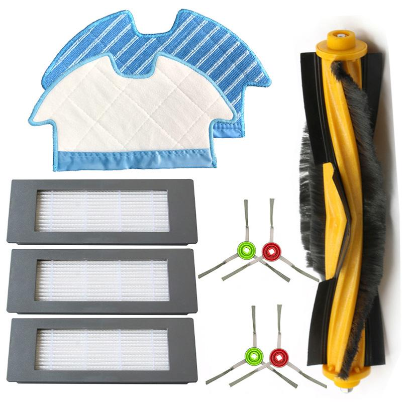 For Ecovacs Deebot Ozmo 900 Filter Brush Mop Cloth Set Vacuum Cleaner Parts 4*Side brushes+1*Roller brush Cleaning Brushes     - title=