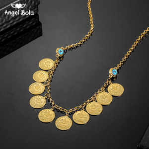 Image 1 - No Faded Allah Muslim Arabic Islam Necklace Long Gold Beaded Link Chains Turkish Middle East Bracelet Allah Jewelery Set