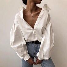 Grande lanterna manga blusa camisa única breasted moda botão feminino solto primavera outono rua feminina topos cor sólida