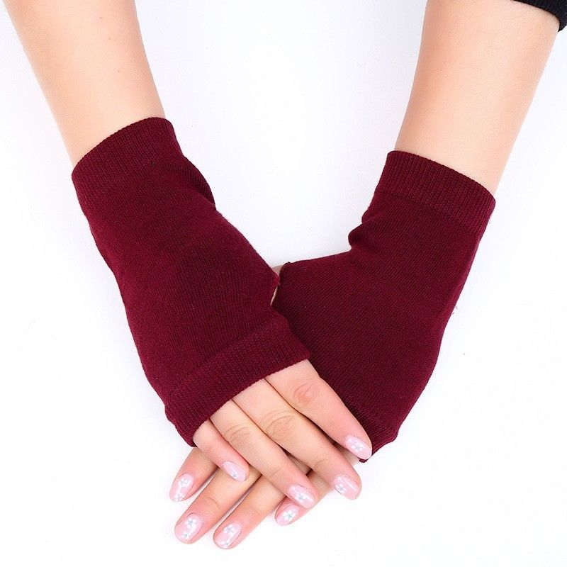 Women Solid Cashmere Warm Winter Gloves Women Fingerless Gloves Women Hand Wrist Gloves