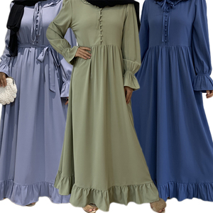 Arab Jilbab Ramadan Dubai Muslim Women Long Dress Ruffle Patchwork Islamic Turkish Clothing Abaya Middle East Loose Maxi Robe