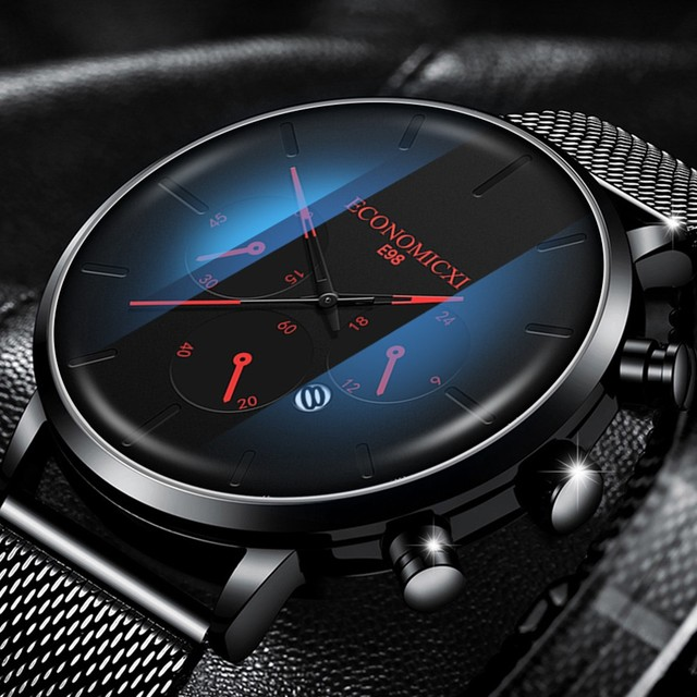 Luxury Watch Men Relogio Masculino Quartz Wristwatches Erkek Kol Saati Casual Slim Mesh Steel Waterproof Business Sport Watches